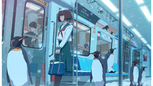 Anime Anime Girls Vivid Shih Penguins Metro Brunette Short Hair Snow Bag Sailor Uniform School Unifo 2300x1643 Wallpaper