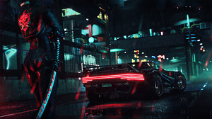 Video Games Samurai Katana Car Rain Night Cyberpunk Cyberpunk 2077 3840x2160 Wallpaper