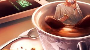 AquaSixio Drink Drinking Biscuit Cup Tea Keys Drawing Artwork Portrait Display Brunette Women Digita 1050x1400 wallpaper
