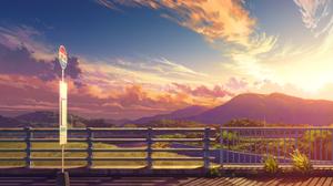 Artwork Digital Art Https Www Pixiv Net En Artworks 84088523 Landscape Sky Clouds Sunset Shadow Traf 1532x884 Wallpaper
