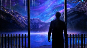Artistic Aurora Borealis Fantasy Landscape Man Mountain Stars Winter 3000x2000 Wallpaper