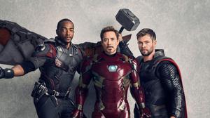 Anthony Mackie Avengers Avengers Infinity War Chris Hemsworth Falcon Marvel Comics Iron Man Robert D 5000x2732 Wallpaper