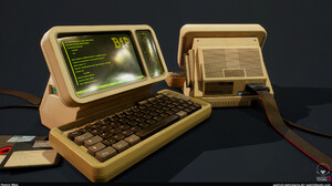 CGi Vintage Render Computer Technology Keyboards Floppy Disk 2560x1440 Wallpaper