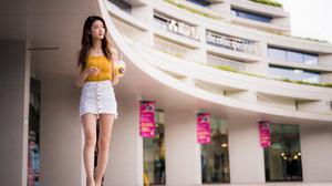 Asian Model Women Long Hair Brunette White Skirt Yellow Shirt Barefoot Sandal Building Walking Juice 3840x2559 wallpaper