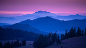 John S Landscape Sky Purple Sky Colorful Horizon Sunset Mist Mountains Trees Nature 2048x1202 Wallpaper