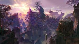 Avant Choi Fantasy Art Digital Art Fantasy City Fantasy Architecture Landscape Purple Cats Trees 1920x965 Wallpaper
