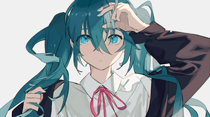 Anime Anime Girls Hatsune Miku Vocaloid Nochek Aqua Eyes Twintails Touching Hair Hair In Face Ahoge  3508x2480 Wallpaper