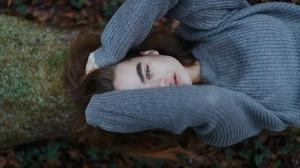 Women Model Brunette Gray Eyes Looking At Viewer Top View Face Lips Open Mouth Long Hair Bokeh Sweat 2560x1709 Wallpaper