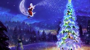 Christmas Tree Night Moon Snowman Santa 1920x1280 Wallpaper