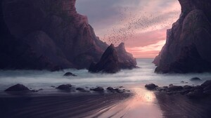 Ocean Rock Sunset 3840x2158 Wallpaper