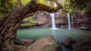 Lake Nature Rock Tree Waterfall 5600x3733 Wallpaper
