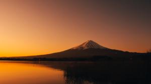 Nature Landscape Mountains Water Lake Grass Trees Sunset Snowy Peak Mount Fuji Japan 1920x1080 Wallpaper
