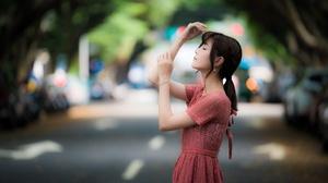 Asian Black Hair Depth Of Field Girl Model Mood Pink Dress Woman 4000x2668 Wallpaper