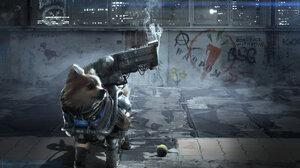 Dog CGi Artwork Futuristic Weapon Cyberpunk Pomeranian Graffiti Urban 1920x1276 Wallpaper