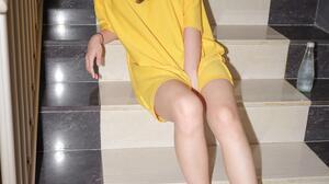 Korean Yellow Shirt Looking At Viewer Stairs Legs Drink T Shirt Asian 3000x4000 wallpaper