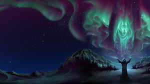 Alex Rommel Digital ArtStation Night Snow 2048x942 Wallpaper