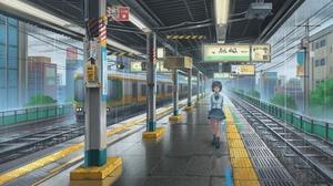 Girl Short Hair Train Train Station 1920x1080 Wallpaper