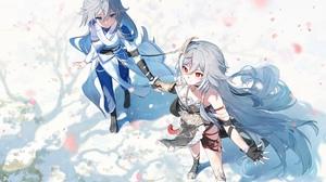 Anime Anime Girls Two Women Red Eyes Blue Eyes Long Hair Silver Hair Chinese Clothing Fu Hua Honkai  4500x2753 wallpaper