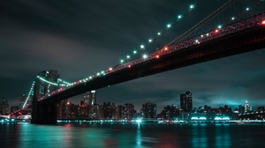 Bridge Brooklyn Bridge Light Manhattan New York Night 3840x2160 Wallpaper