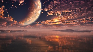 Moon Sea Water Render Reflection Clouds Sky Landscape Sunlight Sunset Lights Nature Planet Space 5000x3125 Wallpaper