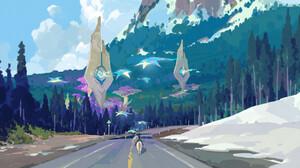 Hw 6523 Digital Art Fantasy Art Landscape Horse Road Mountains Surreal Manta Rays Forest Trees 1920x998 Wallpaper