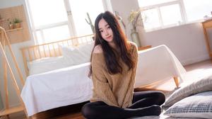Women Model Asian Brunette Sweater Looking At Viewer Brown Eyes Sitting Indoors Women Indoors 3840x2560 Wallpaper