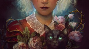 Lourdes Saraiva Fan Art Women Young Woman Cats Black Cats Looking At Viewer Roses Portrait Display A 1212x1717 Wallpaper
