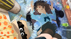 Anime Anime Girls Flowers Red Eyes Brunette Short Hair Mirrored Black Cats Umbrella Water Drops Shir 6019x3590 Wallpaper