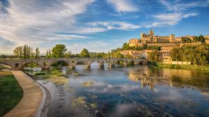 France River Bridge Beziers Town Reflection 3555x2000 Wallpaper