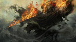 Warrior Katana Fire Smoke 1920x1099 Wallpaper