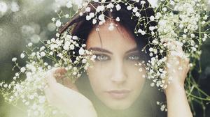 Woman Model Girl Face Blue Eyes White Flower Brunette 7360x4912 Wallpaper