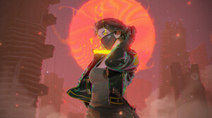 Chin Fong Digital Art Women Futuristic Mask 1920x1080 wallpaper