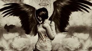 Angel Dark Wings Black White 1440x900 Wallpaper
