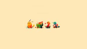 Pokemon Minimalism Pikachu Bulbasaur Squirtle Charmander Beige Beige Background 1920x1080 Wallpaper
