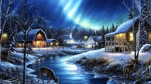 Barn Building Deer Winter 1600x1200 Wallpaper