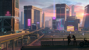 Adrian Marc Cyberpunk Futuristic Digital Painting City Futuristic City Orange Sky Digital Art Fan Ar 3840x1755 Wallpaper