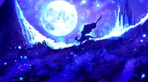 Blue Castle Dragon Fantasy Light Moon Night Sky Wings 1896x1116 Wallpaper