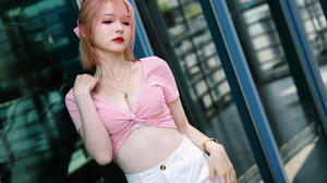Asian Women Model Short Hair Pink Hair Short Tops Necklace Wristwatch Hairband Pants Leaning Window  1920x1280 Wallpaper