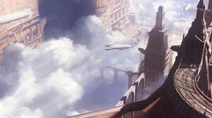 Fantasy Art Artwork Clouds Zeppelin Steampunk 3840x1674 Wallpaper