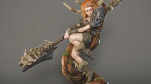 Martin Nikolov ArtStation Artwork Statue Fantasy Art Fantasy Girl Simple Background Gray Background  2000x2000 Wallpaper