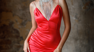 Sergey Sergeev Women Brunette Looking At Viewer Dress Red Clothing Necklace Wall Silk Red Dress 1080x1620 Wallpaper