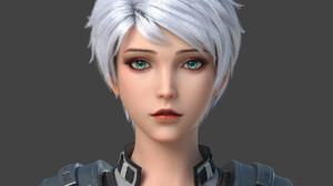 Shuliang Liu CGi Women Silver Hair Short Hair Blue Eyes Looking At Viewer Aqua Eyes Simple Backgroun 2048x2048 wallpaper