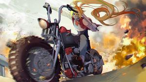 Zombieland Saga Anime Girls Zombie 2 Saki Nikaidou School Uniform Explosion Motorcycle Baseball Bat  2081x1529 Wallpaper
