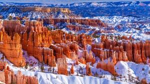 Nature Landscape Trees Snow Rocks Far View Winter Bryce Canyon National Park Utah USA 1920x1080 Wallpaper