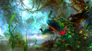 Artistic Bird Colorful Colors Flower Forest Green Peacock Peafowl Tree 2560x1600 Wallpaper