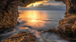 Coast Sunset Nature Sky Sunlight Sea Rock Outdoors 1920x1200 Wallpaper