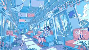 Girl Train Fish 4096x1829 Wallpaper