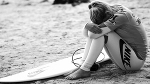 Woman Girl Mood Surfboard Black Amp White 2560x1600 Wallpaper