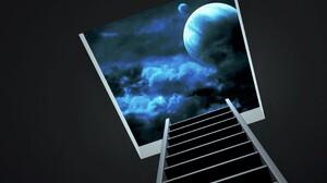 Blue Cloud Ladder Planet Sky Space 3200x2400 Wallpaper