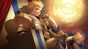 Archer Fate Zero Armor Blonde Earrings Fate Series Gilgamesh Fate Series Red Eyes Throne 3522x2322 Wallpaper